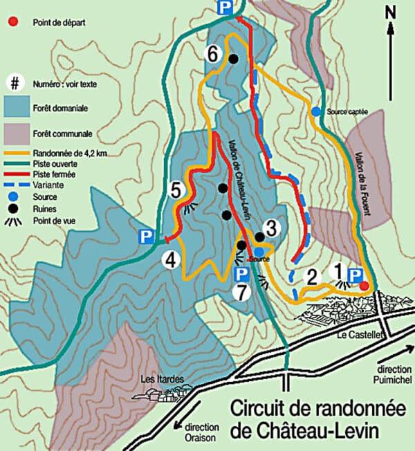 Plan de la randonnée Château Levin