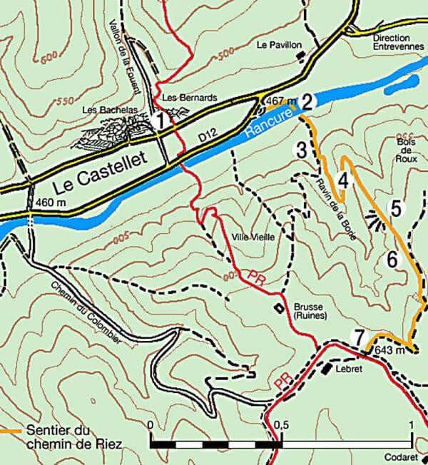 Plan de la randonnée chemin de Riez